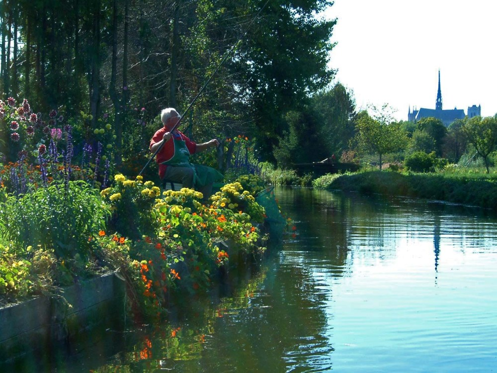 fishing man at hortillonages
